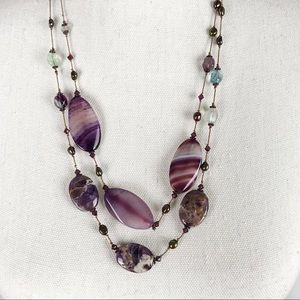 Jewelry - Long Purple Stone and Silk Necklace